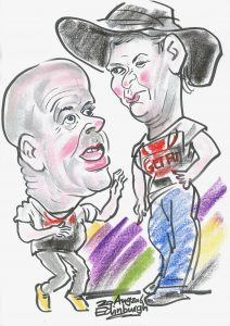 Cartoon of Chris and Karen in Get Fit costume.